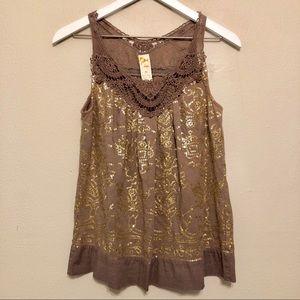 Anthropologie C. Keer Light Brown Gold Sequin Top